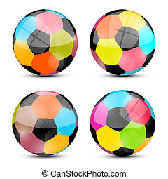 Colorful Vector Football Balls Set Illustration