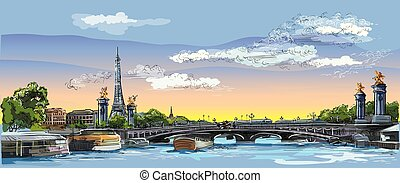 Colorful vector hand drawing Paris 4