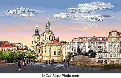 Colorful vector hand drawing Prague 4