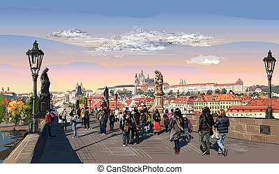 Colorful vector hand drawing Prague 7