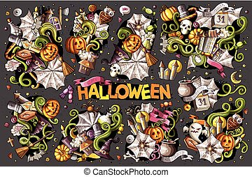Colorful vector hand drawn Doodle Halloween cartoon set of...