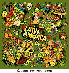 Colorful vector hand drawn Doodle Latin American objects -...