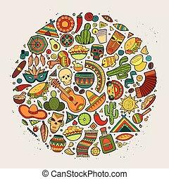 Colorful vector hand drawn doodle cartoon set of Latin...