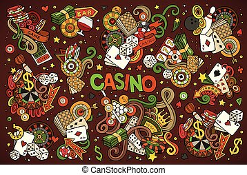Colorful vector hand drawn doodles cartoon set of Casino objects