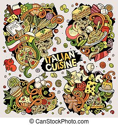 Colorful vector hand drawn doodles cartoon set of Italian food food combinations of objects and elements