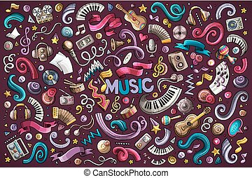 Colorful vector hand drawn doodles cartoon set of Music objects