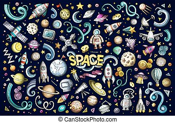 Colorful vector hand drawn doodles cartoon set of Space objects