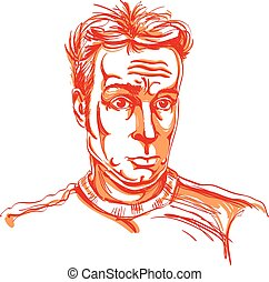 Colorful vector hand-drawn image, surprised young man. Artistic illustration of shocked guy.