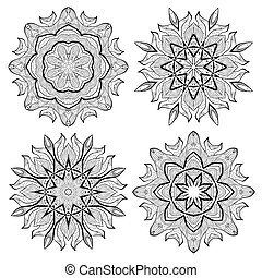 colorful vector hand drawn mandala set