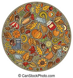 Autumn cartoon doodle objects, symbols and items - Colorful...