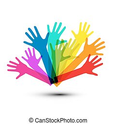 Colorful Vector Hands Isolated on White Background