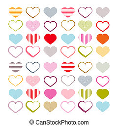 Colorful Vector Heart Set. Red Valentine Symbols.