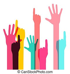 Colorful Vector Human Hands Isolated on White Background