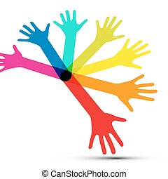Colorful Vector Human Palm Hands Isolated on White Background