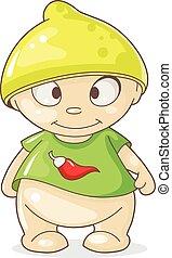 cartoon boy with hat lemon