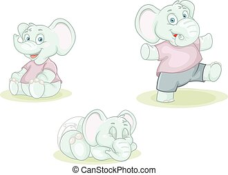 cartoon little elephants