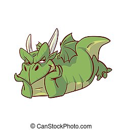 Colorful vector illustration of a green dragon