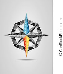 Colorful vector illustration of compass on grey background