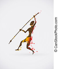 Colorful Vector Illustration of Traditional Ritual Dance. Human Silhouette with Weapon Creative Design.