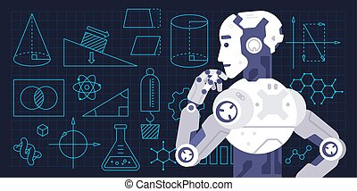Colorful vector illustration of machine learning process -...