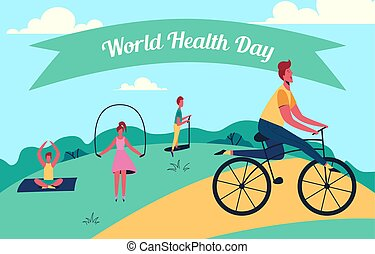 Colorful vector illustration of world health day