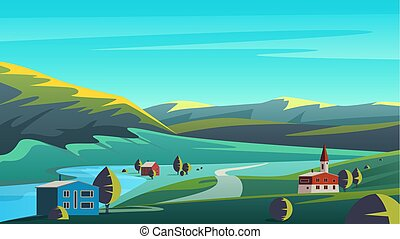 Colorful vector illustration panorama eco landscape with small town placed on lands of remote valley with mountains and blue sky.