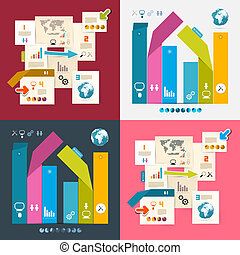 Colorful Vector Infographics Paper Layout Set Illustration