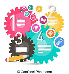 Colorful Vector Infographics with Cogs - Gears and Icons Set in Circle
