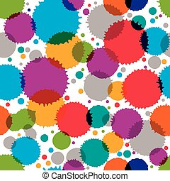 Colorful vector ink splash seamless pattern with rounded overlap