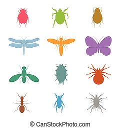 Colorful vector insects collection. Biology, of course, isolated on white background. Vector icons. Flying and crawling insects micro view vector. Bugs silhouette.