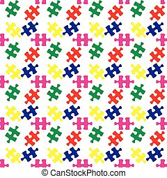 Colorful vector jigsaw puzzle seamless pattern