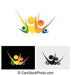 Colorful vector logo icon of abstract happy family of son, daughter, father & mother