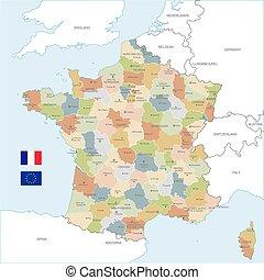 Paris, france, colorful vector map, printable outline version, ready ...