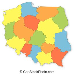 Colorful vector map of Poland with voivodeships on white...