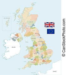 Colorful Vector Map of the UK