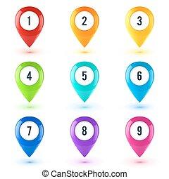 Colorful vector map point symbols set