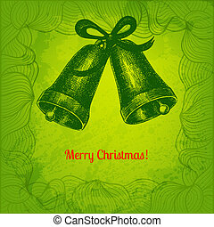 Colorful vector Merry Christmas card with two hand drawn bells