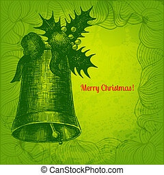 Colorful vector Merry Christmas card with hand drawn bell