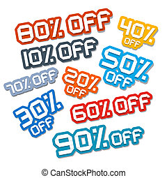 Colorful Vector Paper Cut Discount Stickers, Labels Set
