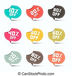 Colorful Vector Paper Discount Labels Set