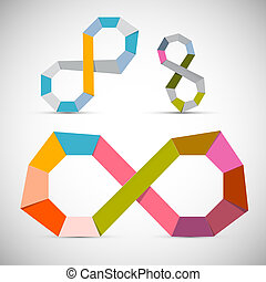 Colorful Vector Paper Infinity Symbol Set on Grey Background