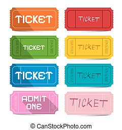 Colorful Vector Paper Movie Tickets Set Isolated on White Background