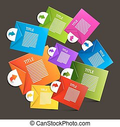 Colorful Vector Paper Sheets - Labels Infographics Design