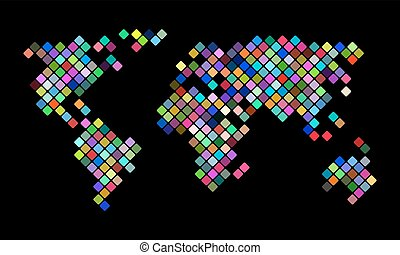Colorful vector pixel world map