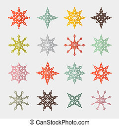 Colorful Vector Retro Cut Paper Stars Set