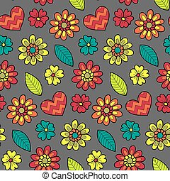 Colorful vector seamless floral pattern. Summer endless background with flowers and hearts.