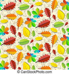 Colorful Vector Seamless Leaves Pattern with Hand Drawn Fruit Background