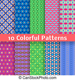 Colorful vector seamless patterns (tiling) - 10 Colorful...