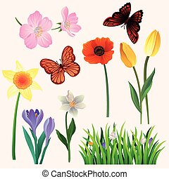 Colorful vector set of beautiful spring flowers and butterflies. Blooming garden plants and flying insects. Natural decorative elements