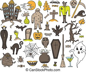 Colorful vector set with hand-drawn Halloween doodles.